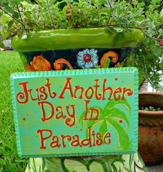 Wooden Beach Sign hand painted Just Another Day in by LuckiiArts, $24.00