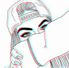 Tumblr Drawings, Girly Drawings, Outline Drawings, Cute Emoji Wallpaper, Cute Wallpaper Backgrounds, Cute Wallpapers, Girl Drawing Sketches, Girl Sketch, Girl Outlines