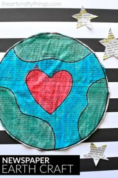 This gorgeous newspaper Earth Day craft is a simple and beautiful craft for kids for Earth Day, fun Earth craft for kids and recyclable crafts for kids. #earthdayactivties