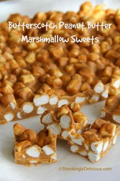 4-Ingredient Butterscotch Peanut Butter Marshmallow Sweets. You want these, trust me! Get ready to be asked for the recipe. | www.ShockinglyDelicious.com