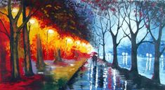 Abstract Acrylic Painting A couple walking in the night - Rain Original Painting - Night Rainy Abstract Landscape - made to order Your Paintings, Original Paintings, Acrylic Paintings, Acrylic Art, Couples Walking, Painting Process, Knife Painting, Painting Wallpaper, Large Painting