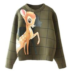 Little Deer Embellished Sweater (490 ZAR) ❤ liked on Polyvore featuring tops, sweaters, shirts, disney, green, deer print sweater, brown sweater, long-sleeve shirt, deer shirt and green top