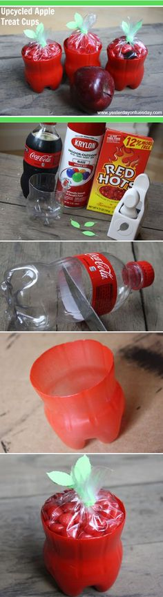 Cute little apple treat cups made from painted coke bottles - cute for teachers