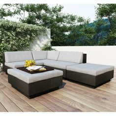 Sonax Park Terrace 5 -piece Textured Black Sectional Patio Set