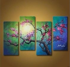 Handmade Large Canvas Art Landscape Flowers Cherry Blossom Oil Paint (no Framed) | Art, Art from Dealers & Resellers, Paintings | eBay!