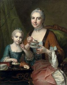Portrait of an elegant lady and her daughter, three-quarter-length, drinking hot chocolate, 1755, by Jean Chevalier