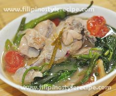 Sinampalukang manok or chicken in tamarind is another simple and easy Filipino dish. This is similar to sinigang na hipon and sinigang na baboy. Normally the chicken sauteed and cooked in a combination of onions, garlic, ginger, different vegetables and tamarind which gives a sour taste.