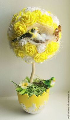 Easter Flower Arrangements, Floral Arrangements, Spring Projects, Spring Crafts, Flower Crafts, Flower Art, Planet Crafts, Unique Trees, Deco Floral