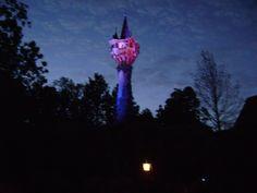 Rapunzel's Tower at Night-New Fantasyland, Walt Disney World, Orlando, FL.