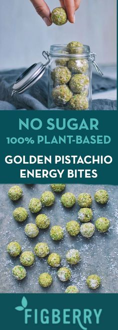 No Bake - Sugar Free - 100% Plant-Based Energy Bites. Great for kids and adults!