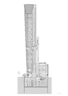 Torre Reforma by LBR A Architects. The tallest skyscraper in Mexico is completed. Building Section, Minecraft Designs, Architectural Section, México City, Architecture Drawings, Thing 1, Mexico Travel, Willis Tower, Multi Story Building