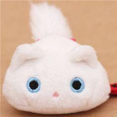 Round White Mini Kutusita Nyanko Cat Plush Toy
