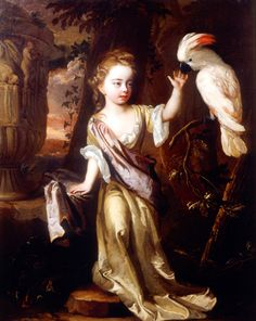 """""""Portrait of a Young Girl with a Cockatoo"""", Michael Dahl, 1690"""