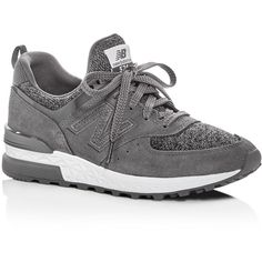 New Balance Women's 574 Lace Up Sneakers ($110) ❤ liked on Polyvore featuring shoes, sneakers, grey, new balance trainers, laced sneakers, lacing sneakers, laced up shoes and grey shoes