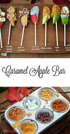 Candy caramel apple bar Make your party the best in neighborhood with these best party food bars and party stations with luxurious decor style for gardens, outdoors and indoors. Köstliche Desserts, Delicious Desserts, Dessert Recipes, Yummy Food, Party Food Bars, Best Party Food, Wedding Food Bars, Bar Food, Fall Treats