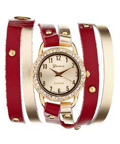 Love this Red & Gold Embellished Leather Wrap Watch on #zulily! #zulilyfinds