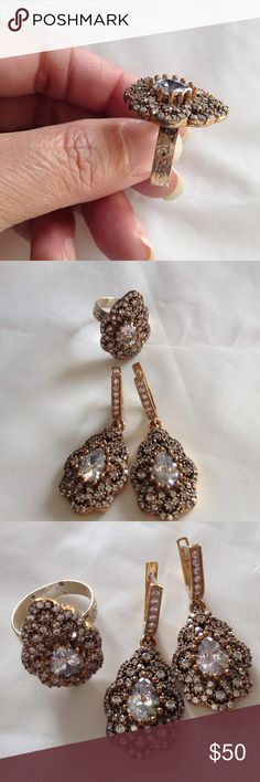 Ring silver and earrings set Ring silver and earrings set Gina's Closet Jewelry Earrings