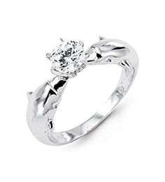 New 14k White Gold Dolphin Round Cut CZ Solitaire Ring >>> Check out this great product.