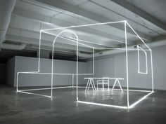 Design Miami/ 2014 - News - Frameweb Exploring Bentley's production process, Italian artist Massimo Uberti chose to express the final step, in which technicians employ ultra-violet light to inspect and correct imperfections, by sculpting neon tubes into an industrial-inspired house, table and chair. Curated by London-based duo Campbell-Rey, Light is the first in a series of projects the luxury car brand had commissioned.