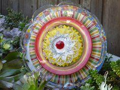 Plate Flower #499  Drought Resistant.       Garden Yard Art glass and ceramic plate flower