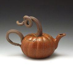 Pumpkin Teapot by baumanstoneware on Etsy
