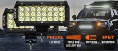 This new driving worklight is perfect for any vehicle, with spot beams. With 3 rows of of Philips bulbs, its the best tool for offroad activities. Led Light Bars, Bar Lighting, Offroad, Beams, The Row, Truck, Bulb, Off Road, Trucks