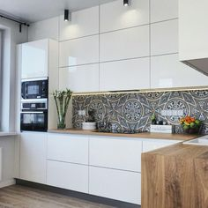 white kitchen with wooden counter tops and dark bohemian splash back will help to tie it with the living room vibe Kitchen Dinning, Kitchen Decor, Kitchen Cook, Küchen Design, House Design, Clean Design, Layout Design, Design Ideas, Cocinas Kitchen