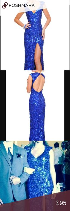 Royal Blue Precious Formals Gown Royal blue sequined floor length gown Precious Formals Dresses Prom