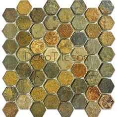 Bronzo Mix Hexagon Slate Mosaic Tile