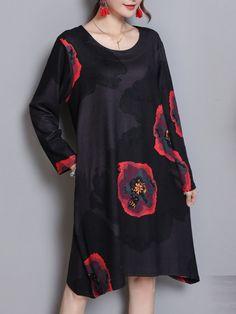 efa9f7ac3aba23 Casual Women Printed Long Sleeve O-Neck Pockets Dress