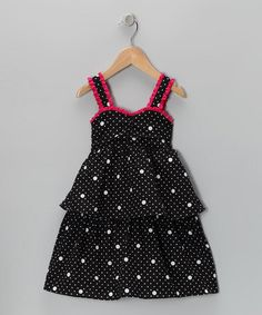 Take a look at this Black Polka Dot Dress - Toddler by Penelope Mack on #zulily today!