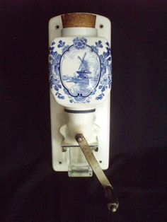 Vintage Blue De Ve Delft Coffee Mill Grinder wall mount FREE SHIP  $200.00 OBO