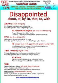 "About, at, by, in, to, which preposition should follow the adjective ""disappointed""? The preposition that follows ""disappointed"" usually expresses the intensity of the emotion involved. Have a look at the grammar sheet below to learn more about it."