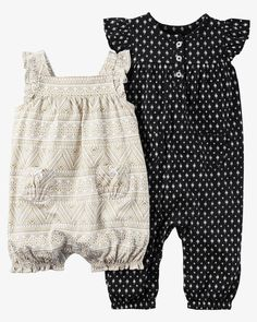 Made with our babysoft cotton, these easy 1-piece jumpsuits get her dressed in no time. Plus, there's always an extra with a 2-pack!