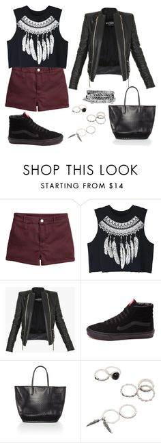 """Meet Me on the Equinox"" by staysaneinsideinsanity ❤ liked on Polyvore featuring WithChic, Balmain, Vans, Seafolly, Boohoo and beachtotes"