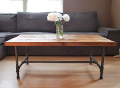 Wood Coffee table with steel pipe legs - idea for outdoor table legs