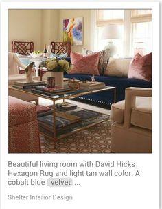 Pink & cobalt blue living room