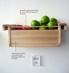 Dream pantry items: Apples emit ethylene gas, which causes other fruits and vegetables to ripen. When combined with potatoes, apples prevent them from sprouting eyes. In the above photo, the apples are positioned in a rack above the potatoes.