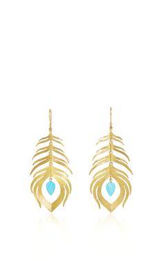 Long Peacock Earrings by Annette Ferdinandsen for Preorder on Moda Operandi