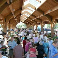 The downtown farmers market is one of my favorite things of summer.  There are delicious, beautiful vegetables & so much more!! Lots of local products are available too.   It has come a long way since it was in a gravel parking lot!  Such a pretty pavilion!
