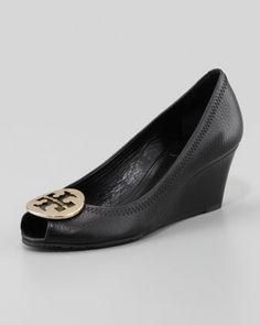 THIS IS A NEED . HAHAHA Sally 2 Leather Wedge Pump, Black/Gold by Tory Burch at Neiman Marcus.