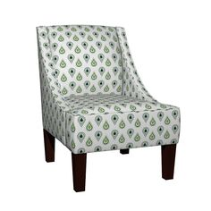 Venda Sloped Arm Chair featuring paisley raindrops -SMALL navy prep by drapestudio   Roostery Home Decor