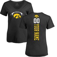 Iowa Hawkeyes Women's Football Personalized Backer V-Neck T-Shirt - Black - $37.99