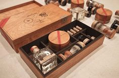 cool packaging, looks like a man's survival kit   http://eighthourday.com/blog/#