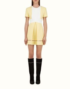 FENDI | A-LINE DRESS in pastel yellow and white crêpe