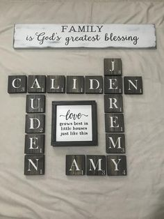 Cricut♥️ A Guide To Online Degrees-How To Select A Online Degree Program Once your have decided to e Scrabble Tile Wall Art, Letter Wall Decor, Name Wall Art, Diy Wall Art, Scrabble Board, Scrabble Letters For Wall, Scrabble Crafts, Big Letters, Family Room Walls