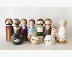 Nativité pleine de poupées Peg--Nativité en bois