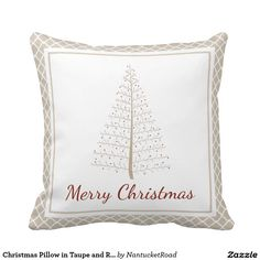 Christmas Pillow in Taupe and Red