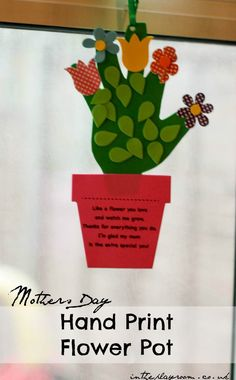 """Handprint flower pot craft for mothers day or any time you want to say """"thank you for helping me grow"""""""