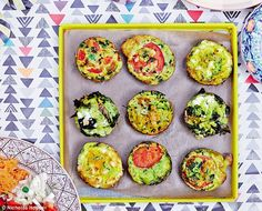 Muffin Frittatas (Hemsley Sisters): use butter-flavored nonstick cooking spray on the muffin tin, courgette = zucchini, use FF cheese (feta or otherwi se, or RF & count) or soy Parmesan